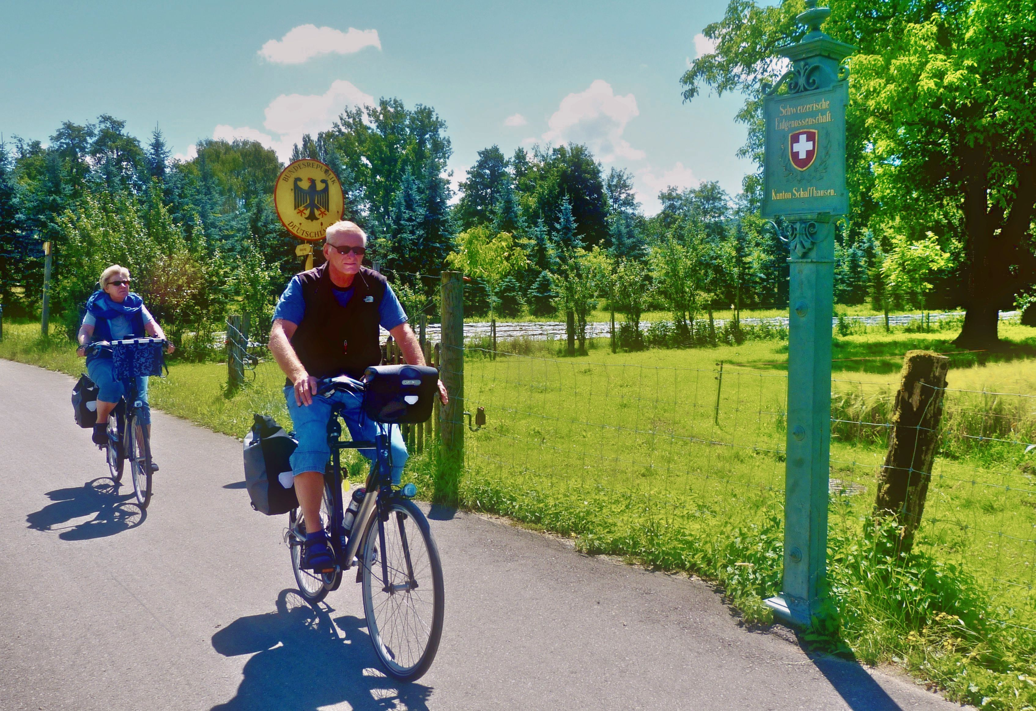 Radfahrer - grüne Grenze